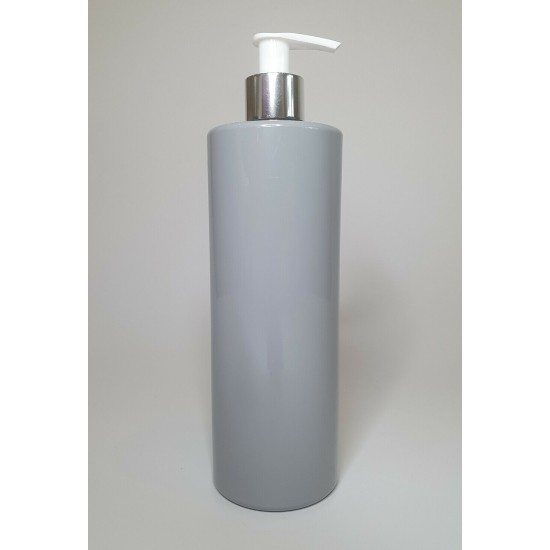 500ml Grey PET Cylinder Bottle with Chrome Silver & White Lotion Pump