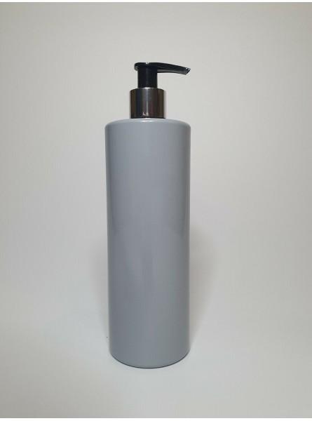 250ml Grey PET Cylinder Bottle with Black Lotion Pump