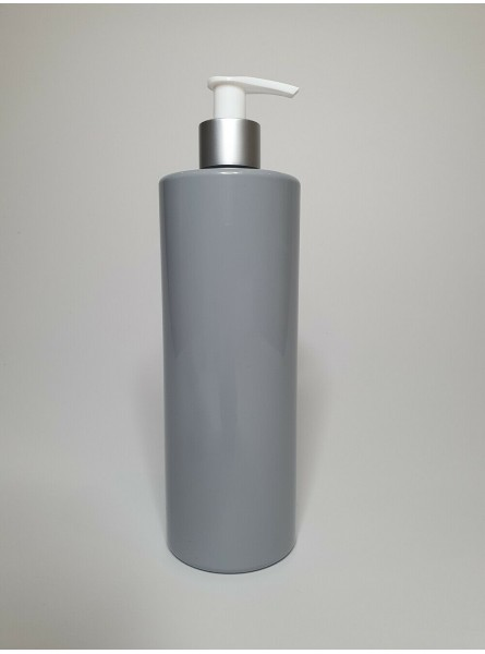250ml Grey PET Cylinder Bottle with Silver & White Lotion Pump