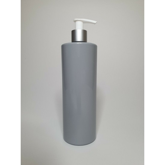 500ml Grey PET Cylinder Bottle with Silver & White Lotion Pump