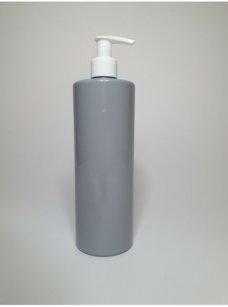 250ml Grey PET Cylinder Bottle with White Lotion Pump