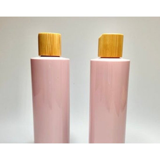 500ml Pink PET Plastic Cylinder Bottles with Bamboo Disc Top