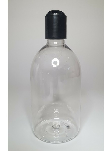 500ml Clear Sirop Bottle with Black Disc Top Cap