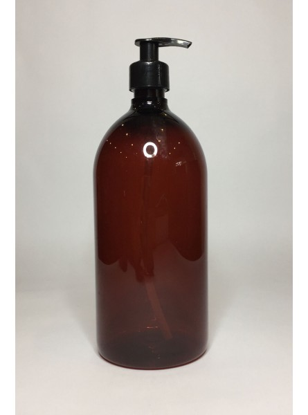1000ml (1L) Amber PET Sirop Bottle with Black Lotion Pump