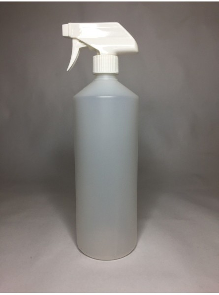 1000ml (1L) Natural HDPE Swipe Bottle with White Trigger Spray