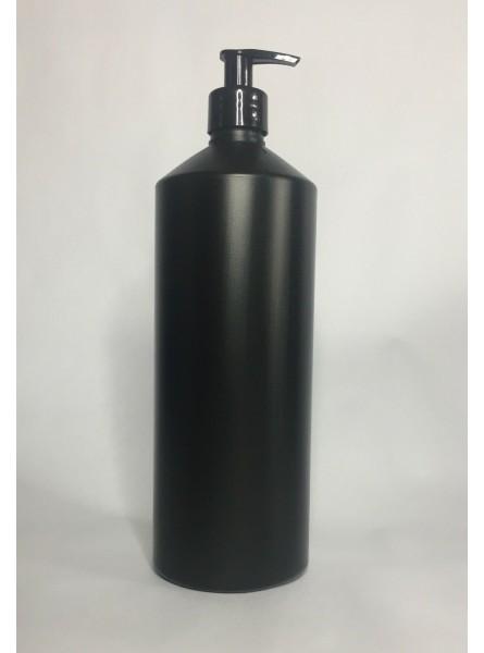 1000ml (1L) Black HDPE Swipe Bottle with Black Lotion Pump