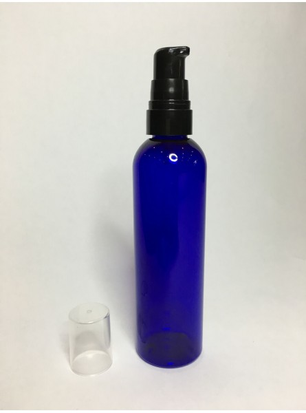 60ml Blue PET Boston Bottle with Black Cream Pump