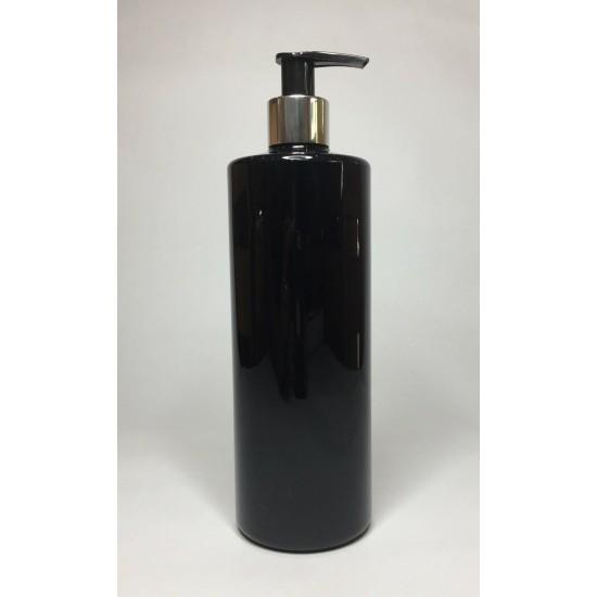 500ml Black PET Cylinder Bottle with Chrome/Black Pump