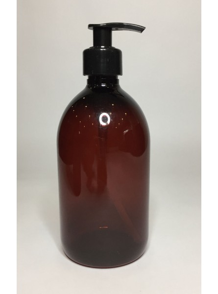500ml Amber PET Sirop Bottle with Black Lotion Pump