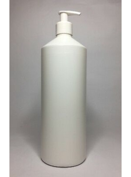 1000ml (1L) white HDPE Swipe Bottle with White Lotion Pump