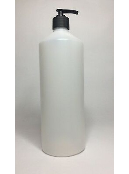 1000ml (1L) Natural HDPE Swipe Bottle with Black Lotion Pump