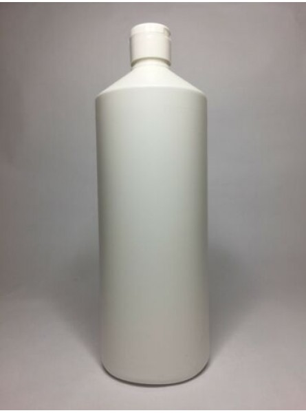 1000ml (1L) White HDPE Swipe Bottle With White Flip Top Cap