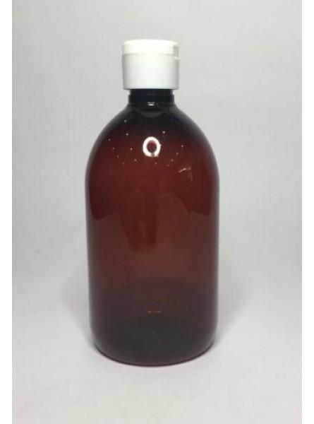 250ml Amber PET Sirop Bottle with White Flip Top Cap