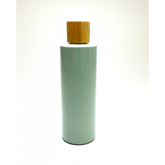 500ml Sage Green PET Plastic Cylinder Bottles with Bamboo Disc Top