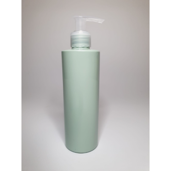 500ml Sage Cylindrical PET Plastic Bottles With Natural Lotion Pump